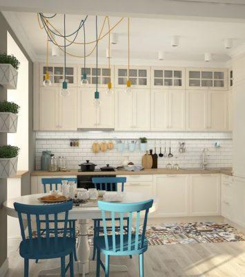 Кухня 3м х 3м в стиле эклектика